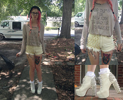 Annri L. - Diy Studded Shorts, Jeffrey Campbell Spiked Litas, Diy Too Dumb Too Ugly - You could have done better, but i don't mind.