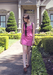 Lily L - Thrift Store Pink 90s Denim Dress, Vintage Bass Loafers, Guess? Leather Backpack - A kid again..