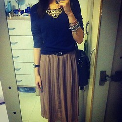 Shanice Koh - Diva Statement Necklace, Gmarket Taupe Pleated Skirt, Typo Black Satchel, Forever 21 Navy Blue Sweater, Vintage Watch - Under the stars with talk so fine