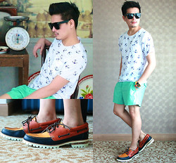E. T. - Black Sunglasses, Random Store, Bangkok Anchor Print Tee, J. Crew Mint Shorts, Dsquared2 Boat Mountain Shoes, Casio Data Bank Watch - Sail or Anchored