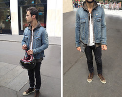 Guillaume RAUX - Pierre Hardy Pocket, Balmain Denim Safety Pins, Balmain Brown Tie Die, Homecore White, Dior Homme Black Raw, Lanvin High Top, Ruby Helmet - Balmain :  Safety pins denim jacket