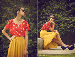 Kacie H. - Forever 21 Mustard Yellow High Low Skirt, Blue Suede Wedges, Forever 21 Sheer Red Floral Top - Electric Feel