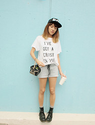 Natsu . - Boy London Cap, Wildfox Couture T Shirt, Dr. Martens Boots, H&M Versace For Bag - NO IDEA FOR THE TITLE.