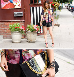 Pop Champagne - Sway Chic Floral Blouse, Halston Heritage Clutch - Floral Front