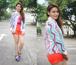 Paulina De Ramos - Strings Shorts, H&M Sequined Top, Fashion Addicted Shop Printed Polo, Crossings Wedges - Be Bright
