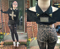 Annri L. - Diy Studded Collar, Diy Leopard High Waisted Shorts, Forever 21 Cross Shirt, Unif Leopard Hellbounds - Goodbye is just too good a word, babe.
