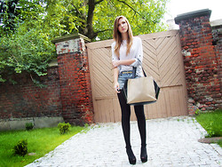 Aleksandra K. - Zara Black Shoes, Two Tone Bag, Diy Dotted Blouse - I will follow you into the dark