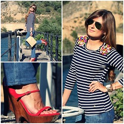 A TRENDY LIFE - Hope 1967 Top, Pura LÓpez Wedges, Ck Jeans - NAVY GIRL