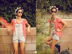 Kacie H. - Bcbg Suede Blue Wedges, Target Striped Overalls, Forever 21 Asymmetrical Loose Tee - Crown Of Flowers