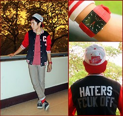Chris Reyes - United Colors Of Benetton Pants, Sperry Topsider Vintage Boatman Shoes, Customized Varsity Jacket, Detroit Red Wings Cap, Armani Exchange Watch - Letterman