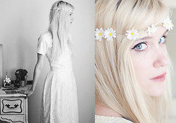 Catherine P - Diy Daisy Crown, Audrey Grace Shop Vintage Lace Dress - Daisy Chains