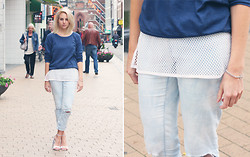 Lian G. - American Apparel Jumper, H&M Fishnet Top, Pieces Jeans, Nelly Heels - White and Blue