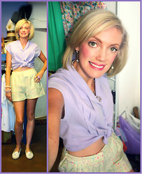 Roxanne Rokii - Rokii Diamante Drop Earings, Rokii Gunmetal Beads, Rokii Vintage Lilac Crop Blouse, River Island Mint Green Pastel Check Tweed High Waisted Shorts, Rokii Triple Pearl Bracelets - 30-05-12 - Summer Holidays 50's Style
