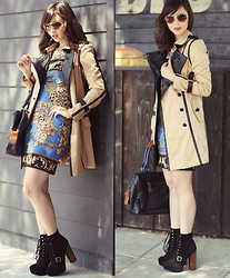 Chesley Tolentino - Elliatt Trench Coat, Questhaven Fashions Bag, Steve Madden Booties - Cityscape Trench