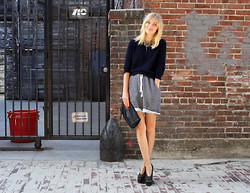 Marie Hindkær Wolthers - Acne Studios Shoes, H&M Shorts, Acne Studios Sweater, Yvonne Kone Bag - SWEATPANTS AND HEELS