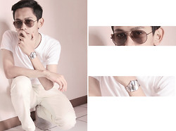 Ajie Satrio - Gucci Glasess, Fossil Watch, Executive Strech Pants, Gt Man Shirt - Casual