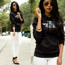 Sheryl L - North Face Hoodie Sweatshirt, House Of Harlow Pyramid Bar Cuff - SPORTY