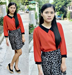 Judy Gonzales - Thrifted Red Top, Time Piece Leopard Skirt - Not that strong to hold on