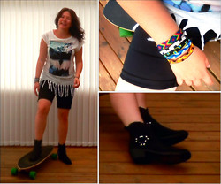 Anna M - Nelly Shoes Boots, Markets Bracelets, H&M Top - - yes, boots and longboarding is a great match!