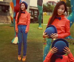 HEIDI KIM - Blue Bon Tie, Blue Cap, Blue Pants, Yellow Open Toe High Heels, Orange Shirts - I could say I am a trouble maker...