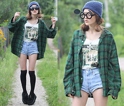E V - Sunglasses, Creepers, Thrifted Flannel Shirt, Levi's® Vintage Levi's - MICKEY MOUSE FACE