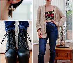 Ami See - Topshop Jeans, New Look Crop Top, Daisy Street Shoes Liras, Miss Selfridge Earings - High Waisted