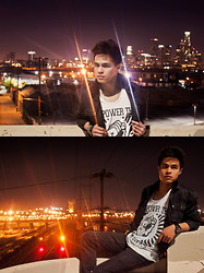 Garin Rusdi - Forever 21 Black Leather Jacket, Unite Clothing Empower The Third Estate Tank Top - Live in L.A.