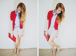 Mariah Nicole - Newyork And Company Thrifted Red Cardigan, Handmade Blue Button Up, Pale Blue And White Pinstripe Shorts, Nude Wedges - Casual