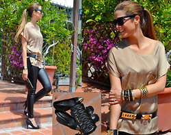 Fabrizia Spinelli - Oasap Sunglasses, Zara Leather Pants, Oasap Heels, Miu Clutch, Hermës Bracelet, Hermës Belt, Forever 21 Bangles - Leather and studs