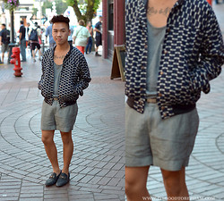Stephen Pham - Urban Outfitters Cotton Tank Top, Zara Cotton Blend Shorts, Patrik Ervell Printed Baseball Jacket, Zara Pointytoe Loafers, Vintage Snakeskin Belt - Caught On The Street