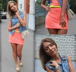 Viktoria Vyshnykova - H&M Dress, Asos Belt, Oodji Purse, Billy Blues Vest - Neon Summer..
