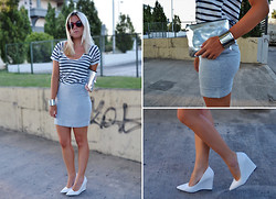 Dena T. - Mango White Wedges, H&M Skirt, H&M Metal Purse, Zara Navy Top, H&M Cuff - Navy | Metal | Red