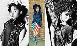 Kells E - Black Milk Clothing Kidz In Amerika Leggings, Forever 21 Leather Vest, Forever 21 High Low Hem Button Down, Jeffrey Campbell Mary Roks Wedges, Diy Cross Necklace - Stars and Stripes, Chains and Spikes