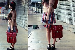 Mirabelle K - Playing Cupid, Forever 21 Sweater Top, Tribal Skirt, 3 Way Bag, Studded Maryjanes - Guns and roses