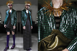 Andre Judd - Ken Samudio Spike Crown/Neckpiece, Striped Oversized Tank, Metallic Check Suit, Embossed Metallic Patent Bag, Purple Socks, Metallic Purple Laceups - FOREST KING