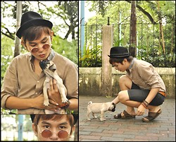 Chris Reyes - Mcqueen The Pug, Lennon Glasses, Topman Button Down, Tomato Bracelets - Mcqueen's Day Out