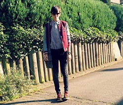 Melik D - Zara Brown Boots, H&M Black Skinny Jeans, H&M Bag, H&M Checkered Shirt, Zara Jacket - I'm so over you