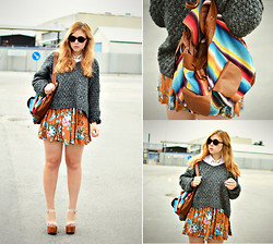 Amanda Brohman - Zara Knitted Sweater, Indiska Floral Skirt, Jeffrey Campbell Shoes, Target Backpack, Sunglasses - Let's Set The World On Fire, We Are Young