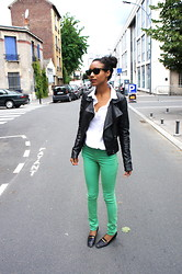 Nicole G - H&M Green Jeans, James Perse White Collar Shirt, Bally Vintage Loafers - Green Jeans