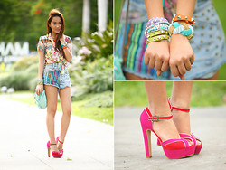 Laureen Uy - Glam Effect Top, Bubbles Shorts, Cmg Shoes, Alexander Wang Bag - Kaleidoscope Colors (BMS)