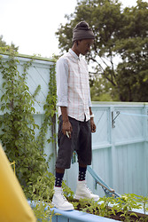 Junior S - Grey Beanie, Givenchy Horn Earrings, Lines & Grids Shirt, Rick Owens Grey Drop Crotch Short, Topman Stars And Stripes Socks, Dr. Martens White Monochrome 1460 - L A B & iD - The Milky-Way Star Gazed Grid!