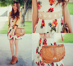Jae D - Blazer, Floral Dress With Crochet, Boots, Thrifted Vintage Bag - - floral and crochet waist