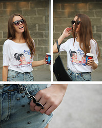 Nastia Nastia - House T Shirt, Topshop Shorts - Pepsi-Cola time
