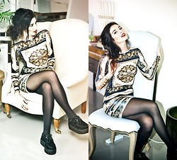 Elle-May Leckenby - Black Swayed Lace Up Platforms, Glitters For Dinner Victorian Patterned Slip Dress - Victorian Snow White