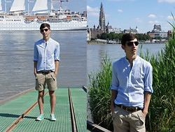 Christophe B. - Ray Ban Sunglasses, Converse Turquoise All Stars, H&M Blue Striped Shirt, Esprit Brown Belt, Guess? Beige Shorts - Antwerp is sizzling!