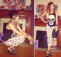 Kendra B - Urban Outfitters Skull Tank Top, Urban Outfitters Floral Pants, Value Village Strapped Heels, H&M Fringe Purse - SKULLS & LOVE!