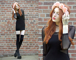 Olivia Emily - H&M Flower Crown, Mesh Insert Dress, Skeleton Hand Harness, Manchester Arndale Spike Heeless Shoes - Skeleton Hand.
