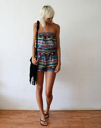 Sietske L - Primark Playsuit, Chic Wish Fringe Bag - Aztec playsuit