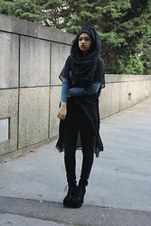 Saima Chowdhury - Binty K Collections Pom Pom Crinkle Hijab, Forever 21 Skinny Jeans, Ebay Litas, Topshop Chiffon Robe, Primark Long Sleeve Top - Dead silence