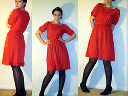 "Laura R - Vintage Red Ridinghood Dress, Madden Girl Peep Toe Cone Heel With T Strap, Target Studded Headband, Target Vertical Line Tights - ""I'm going to get you...I'm going to get you out of my head"""